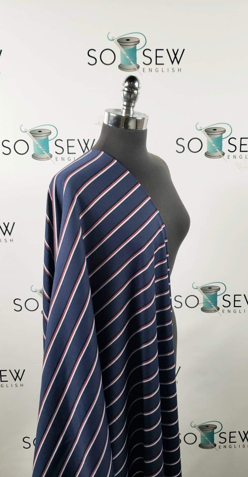 Navy/Red/White Stripe - Rib Rayon Spandex -By the yard