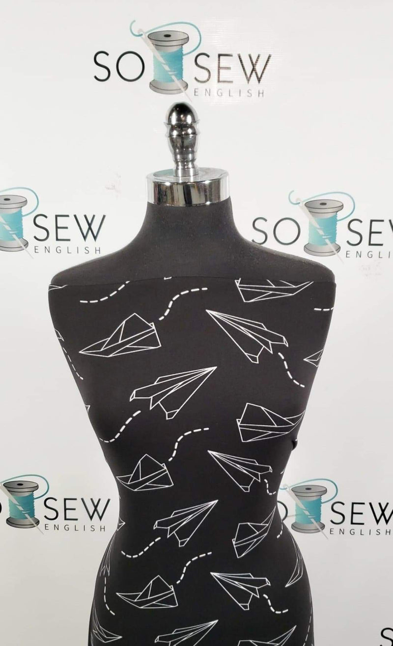 Black Paper Airplanes - Double Brushed Poly Spandex -By The Yard