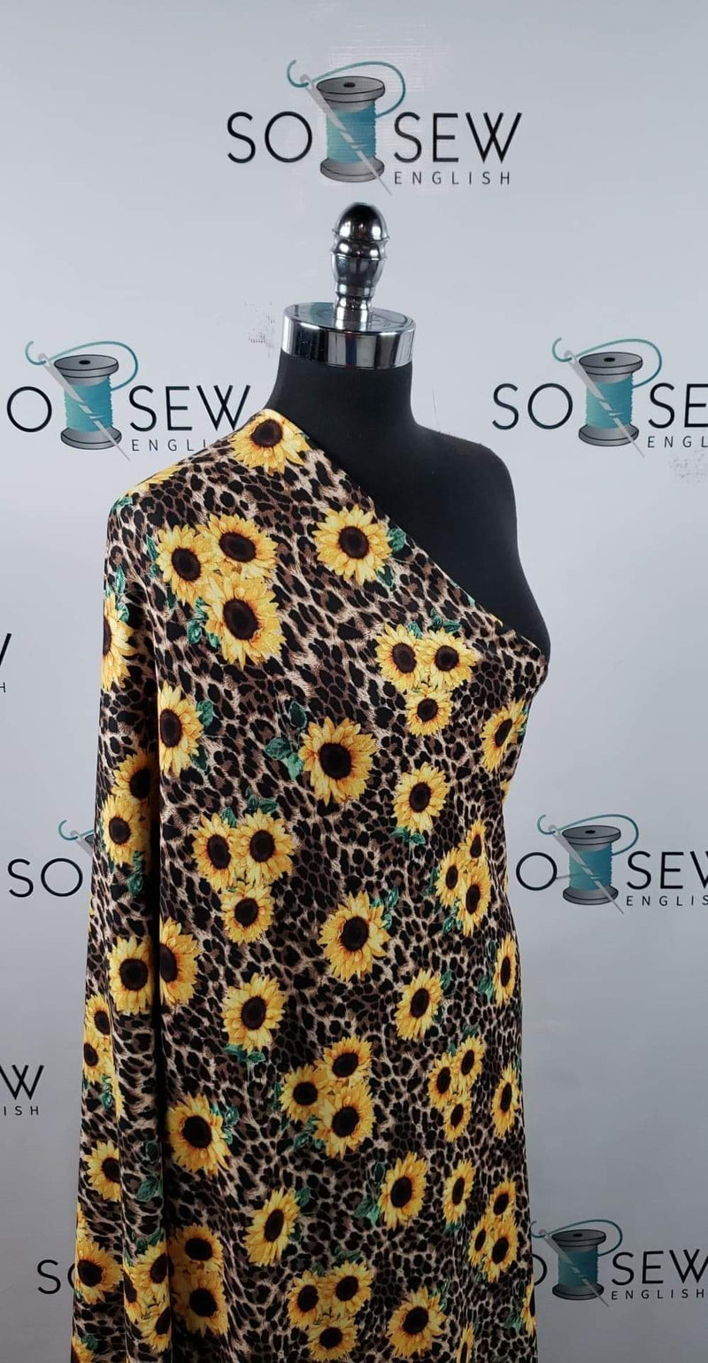 Sunflower/Leopard - Oakley Brushed Sweater Knit - By The Yard