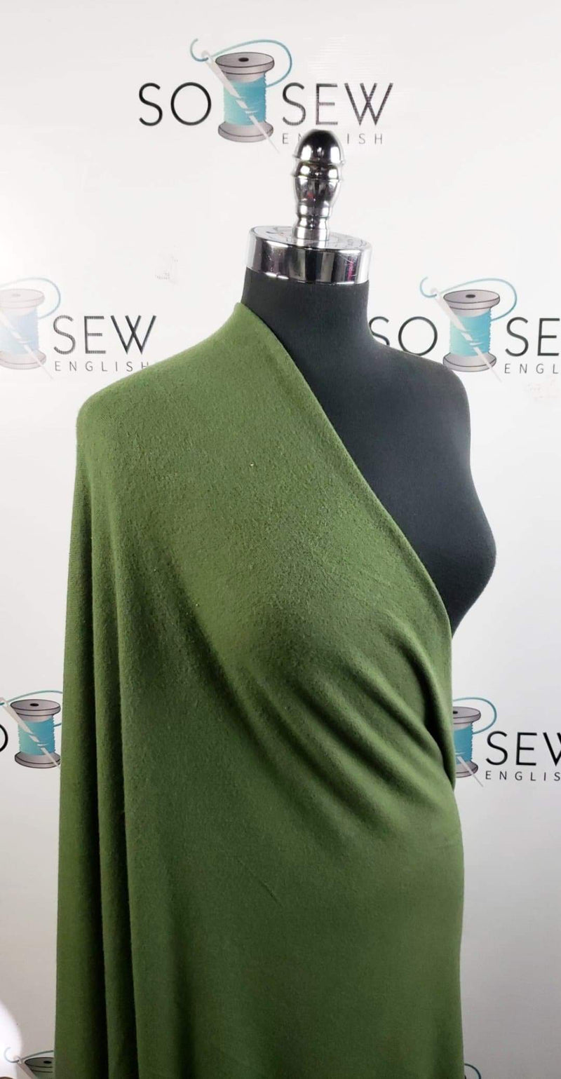 Solid Olive - Brushed Hacci Sweater Knit - By The Yard