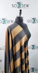 Mustard/Charcoal Stripe - Right Side Loop French Terry - By the yard