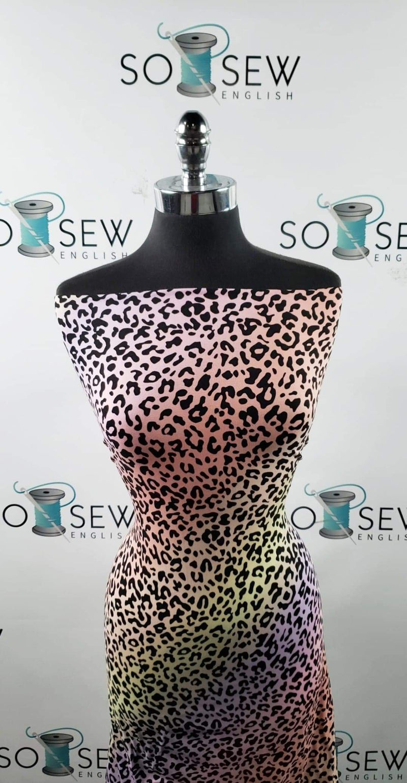 Pastel Ombre Leopard - Double Brushed Poly Spandex -By The Yard