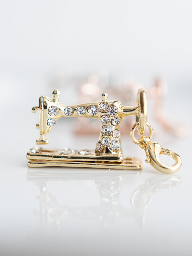 Yellow Gold Sewing Machine CHARM - Sold Individually (necklace, bracelet, zipper pull)
