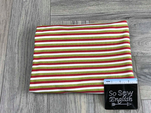 Red/Green STRIPE -1x1 Rib Cotton Spandex - By The Yard
