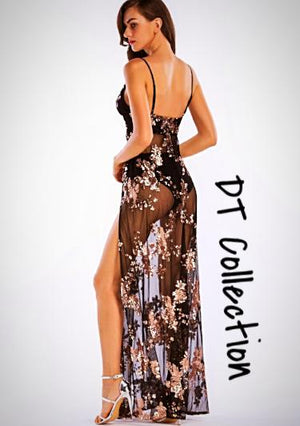 Sequined Party Dress Sexy Slit Halter