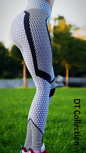 Honeycomb Print High Waist Fitness Leggings