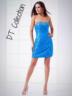 DT Collection Sexy Mini Dress Blue Lace on Polyester with Crystals decorated. Knitted handmade available in sizes S, M, L, XL. Beautiful Prom dress, Bridal party, cocktail or evening dress.