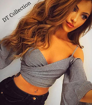 Sexy Off Shoulder Flare Sleeve Plaid Crop Top