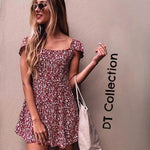 DT Collection Women's Backless Mini Summer Dress Vintage Floral Print. High waist with a modest flare for those hot summer days. Beach wear ladies!