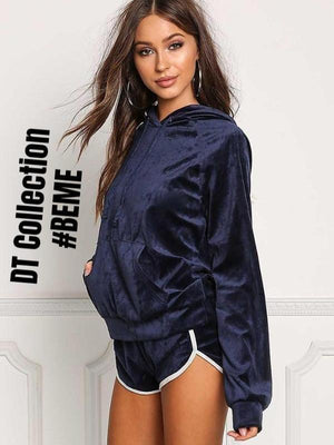 #BEME Velvet Set Hoodie Top + Shorts PARIS | DT Collection