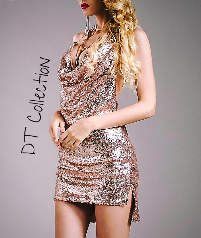 Sexy Sleeveless Deep-V Halter Sequin Backless Dress