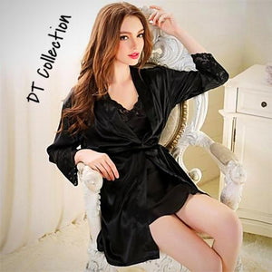 2 Piece Nightgown Set Silk with Robe