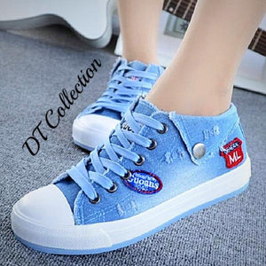 Women's Denim Flats High Top Canvas Shoes