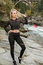 Yoga Set Long Sleeve Mesh Top + Slim Leggings