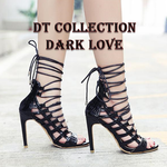 DARK LOVE Open Toe Spike Heels Laced up | DT Collection