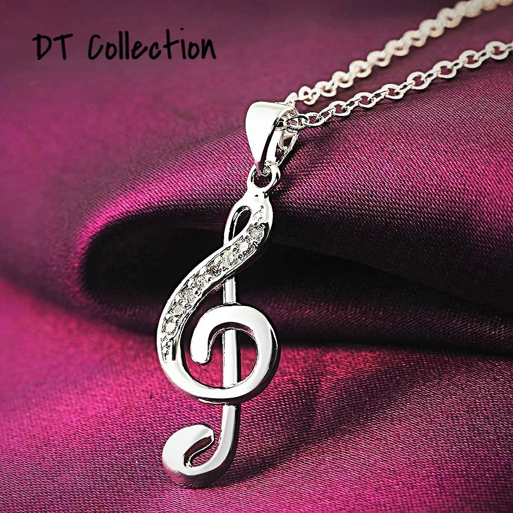 DT Collection Silver Plated Musical Note Pendant Necklace