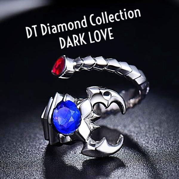 DT Collection DARK LOVE Scorpion Certified 2.1ct/SI Blue Sapphire Ruby Ring