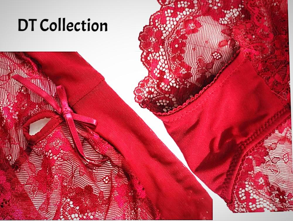 DT Collection Sexy 2 Piece Lingerie Set. Made of Polyester, Lace and Cotton. Padded underwire Bra adjustable straps with floral design and matching panty. Available in sizes S, M, L, XL. Black, White, Purple and Red.