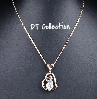 DT Collection Sweet Elegance Rose Gold Crystal Heart Pendant Necklace