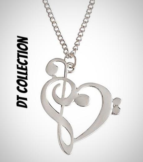 DT Collection Heart Shaped Musical Note Pendant Necklace