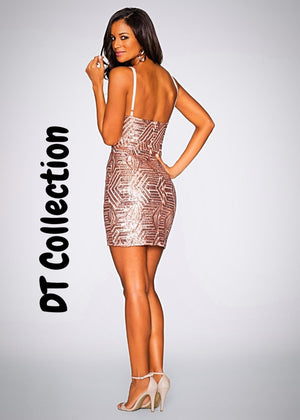 Sexy V-neck Sequined Backless Mini Dress