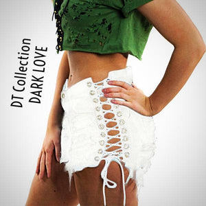 DT Collection DARK LOVE Sexy Laced-Up Cutoff Denim Shorts