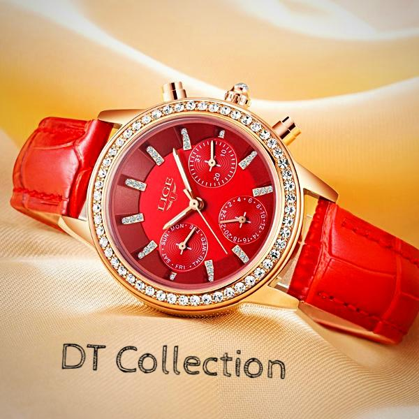 DT Collection Women's Luxury Leather Watch. Water Resistant, Shock Resistant, Complete Calendar, Auto Date. Beautiful design for that glamorous look and style.
