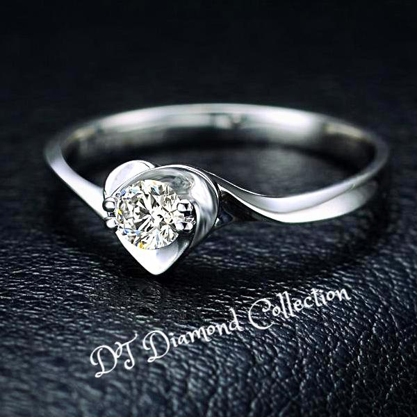 DT Collection Certified Diamond H/SI Engagement Ring 18K White Gold