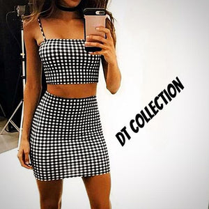 DT Collection Women's 2 Piece Sleeveless Plaid Crop Top + Short Skirt Set. Mini skirt with halter tank top spaghetti strap. Sexy and casual for those summer days.