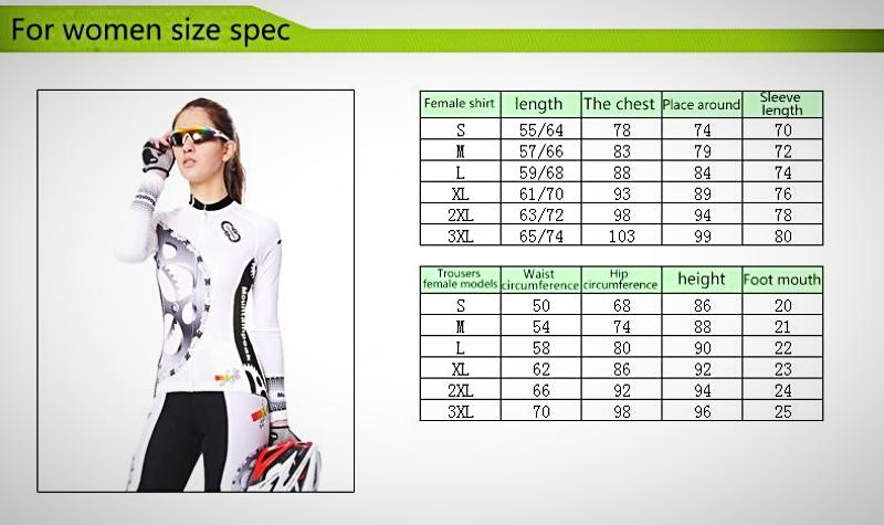 DT Collection Women's Cycling Set 2 pcs Pants and Top Long Sleeve. Sprocket set print, comes with gel pad for seat. Lightweight, breathable and quick dry for best comfort.