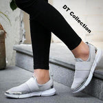 DT Collection Women's Sneakers Breathable Flat Shoes Slip-on. Rubber sole with Gold and silver trim. Very comfortable walking shoes.