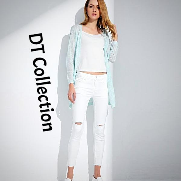DT Collection Women's Capri Denim Stretchy Pencil Jeans. Soft and comfort against your skin. Cut above knee for the ripped style. Simple and casual wear!