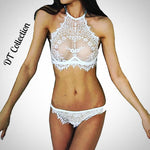 DT Collection Sexy Lingerie Lace Flowers Push Up Bra and Underwear Set