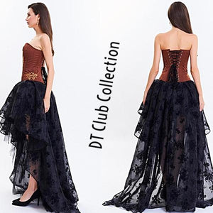 DT Collection Sexy Corset Dress Lace Waist Trainer Gothic. Walk on the dark side in this one ladies. You are the goddess of the night! No jewelry needed;)