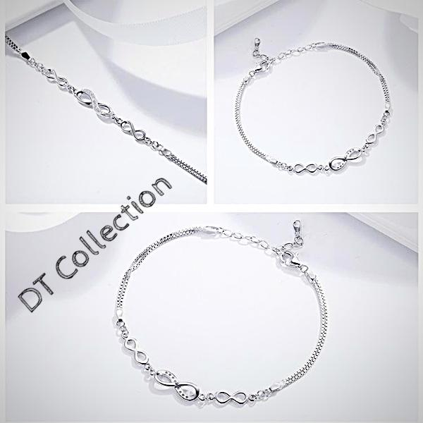 DT Collection Infinity Chain Link Bracelet 925 Silver. Lead, Nickel Free , Allergy free, Never Hurt your hand. Decorated with cubic zircon crystals on an infinity design. Enjoy the simplicity of this trendy piece.
