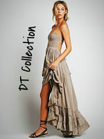 DT Collection Sexy Long Backless Beach Dress. Sleeveless, Backless with stretch to fit top and flare bottom. Available in 5 colors and 5 sizes.