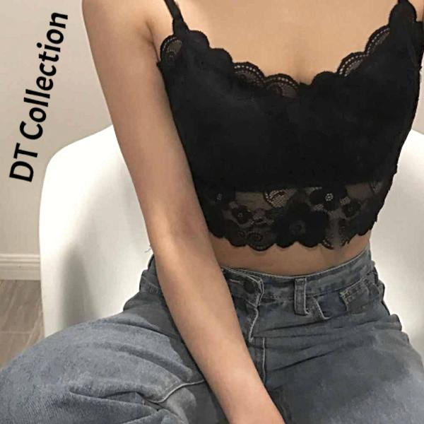 DT Collection Women's Crop Top Lace Camisole. Padded spaghetti strap floral design. Perfect for hot summer days. Sexy and comfortable!