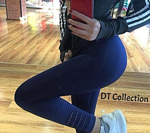 DT Collection Women's high waist leggings. Extra wide elastic adding more support and lift to bottom. Bodybuilding slimming, stretch to fit firmly. Comes in 4 colors and 2 dual sizes to fit S, M, L, XL.