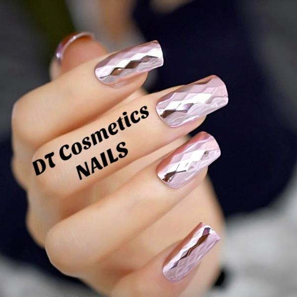 Pre Designed Nails Press On Long French Dt Collection
