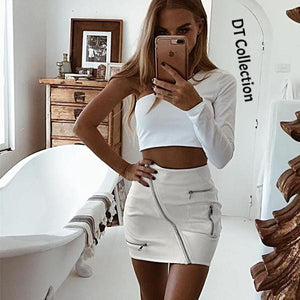 DT Collection Women's High Waist Mini Leather Skirt Zipper Pockets