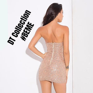 #BEME Autumn Gold Mini Cocktail Dress Strapless | DT Collection
