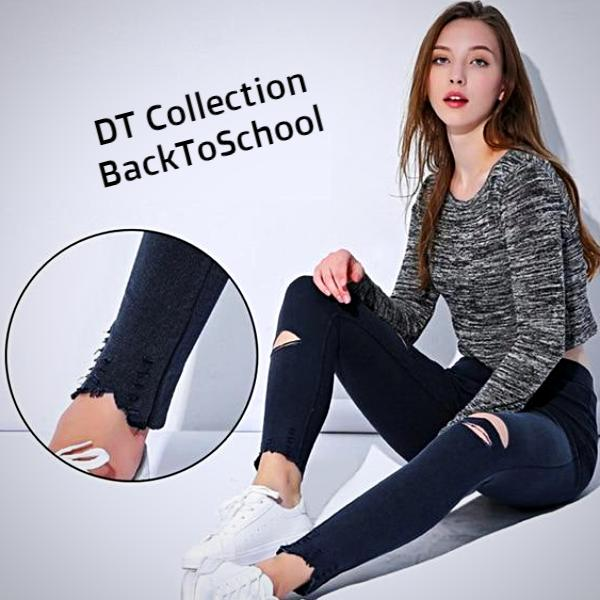 DT Collection Ripped Denim High Waist Slim Pencil Jeans BackToSchool