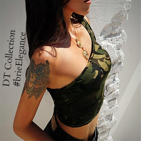 #brieElegance Camouflage Tank Top Streetwear | DT Collection