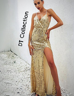 Sexy Sequin Long Dress Sleeveless V- Neck