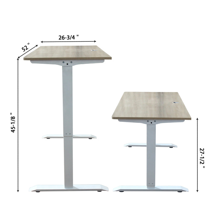 A-52 Ergonomic 52-in 3 Memory Buttons LED Electric Automatic Height Adjustable Sit to Stand Work Office Desk with White Legs