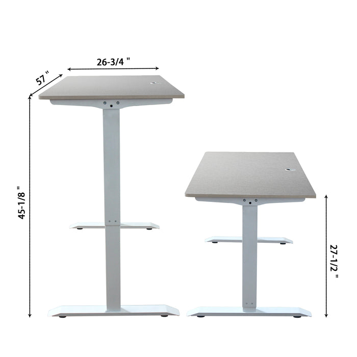 A-57 Ergonomic 57-in 3 Memory Buttons LED Electric Automatic Height Adjustable Sit to Stand Work Office Desk with White Legs