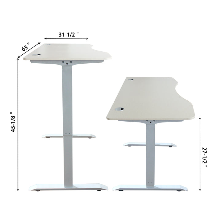 A-63 Ergonomic 63-in 3 Memory Buttons LED Electric Automatic Height Adjustable Sit to Stand Curved Work Office Desk with White Legs