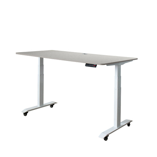 A3-57 Ergonomic 57-in 3 Memory Buttons LED Electric Automatic Height Adjustable Sit to Stand Work Office Desk with White Legs