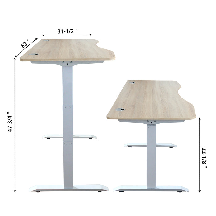 A3-63 Ergonomic 63-in 3 Memory Buttons LED Electric Automatic Height Adjustable Sit to Stand Curved Work Office Desk with White Legs