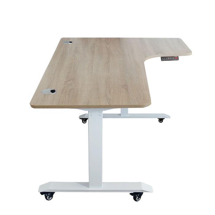 A3-63L Ergonomic 63-in 3 Memory Buttons LED Electric Automatic Height Adjustable Sit to Stand L-Shaped Corner Work Office Desk with Black Legs